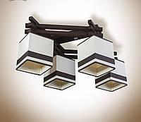 Люстра на 4 лампочки для спальни, кабинета, кухни, прихожей с абажурами