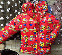 Детская зимняя куртка  Миньон на овчине оптом 92-116 красная