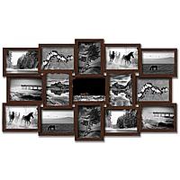 Деревянная эко мультирамка, коллаж  № 215 венге, орех, белый, чёрный.