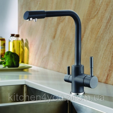 Комбінований кухонний змішувач Blue Water Польща Amanda 44 чорний металік підключення фільтрованої води