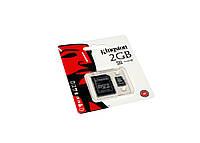 Карта памяти microSD, 2Gb, Kingston, SD адаптер (-)