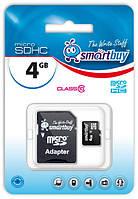 Карта памяти microSDHC, 4Gb, Class10, SmartBuy, SD адаптер (SB4GBSDCL10-01)