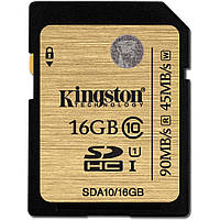 Карта памяти SDHC, 16Gb, Class10 UHS-I Ultimate, Kingston, 45 / 90 Мб/с (SDA10/16GB)