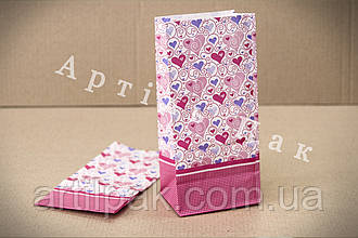 Білий паперовий пакет 190*90*65 Сердечка малюнок