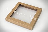 Коробка для пряника 210*210*30 КРАФТ-картон + вікно з прозорої ПВХ плівки (пластик)
