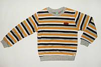 Джемпер для Мальчика Полосатый Плотный трикотаж  Желтый Рост 122-128 см