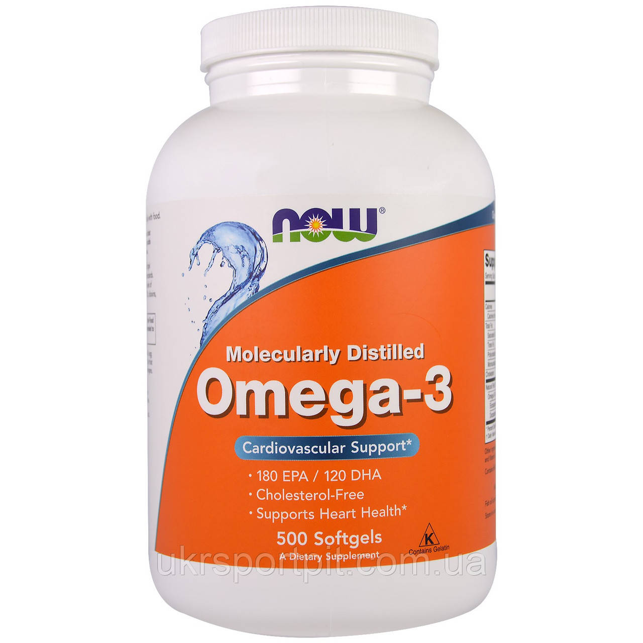 Now Foods, Omega 3 (Омега 3) 1000mg, 500 Капсул