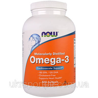 Now Foods, Omega 3 (Омега 3) 1000mg, 500 Капсул