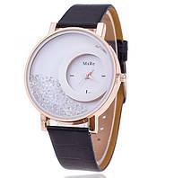 160чер - Часы кварцевые наручные женские с черным ремешком