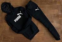 Мужской черный спортивный костюм PUMA с капюшоном ( значёк+имя ) размер М