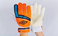 Перчатки вратарские юниорские FB-838-5 UMB (PVC, р-р 7-9, оранжевый)