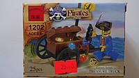 """Конструктор пластиковый """"Пиратский сундук с сокровищами """",25ел,1фиг в коробке 45*70*90мм,6+.Пластиковый констр"""