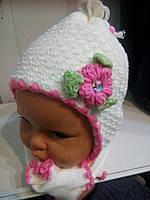 Вязанная шапка с шарфом для новорожденных