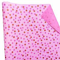 """Подарочная бумага """"Крупные горошки"""" Розовые и красные на розовом"""