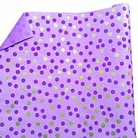 """Подарочная бумага """"Крупные горошки"""" Фиолетовые и золотые на фиолетовом"""