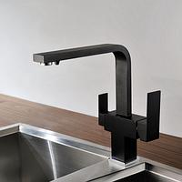 Комбинированный кухонный смеситель Blue Water Польша Taupo 44 черный металлик подключение фильтрованной воды