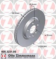 Гальмівний диск передній (R17, 333x32.5mm) VW Transporter T5 03- 600323100 ZIMMERMANN (Німеччина)