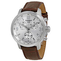 Часы женские Tissot PRC200 Chronograph Silver Dial Brown Leather TIST0552171603302