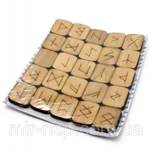 Руны деревянные для гадания 25 штук из ясеня с инструкцией в мешочке