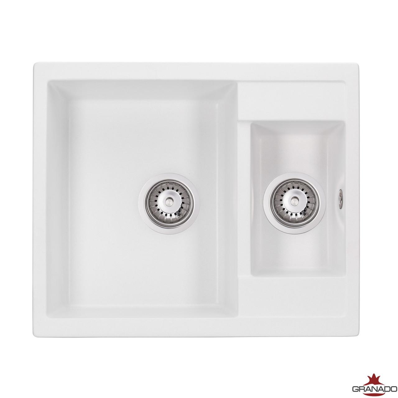 Гранитная мойка в кухню с двумя  чашами модель Samora цвет White прямоугольной формы от производителя Granado