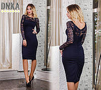 Платье Коктейльное рукав гипюр тёмно синее+