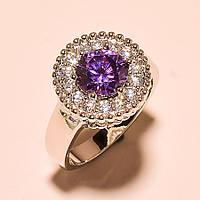 Кольцо с  пурпурным  аметистом и топазами.  Размер 19