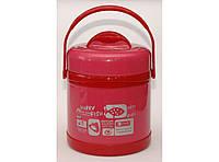 Термос пищевой 1,5 л (красный) Т55-122, термос для еды 2 судочка
