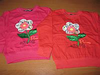 Детский теплый батник  2-х нитка на байке Цветочек для девочек 4-5 лет Турция
