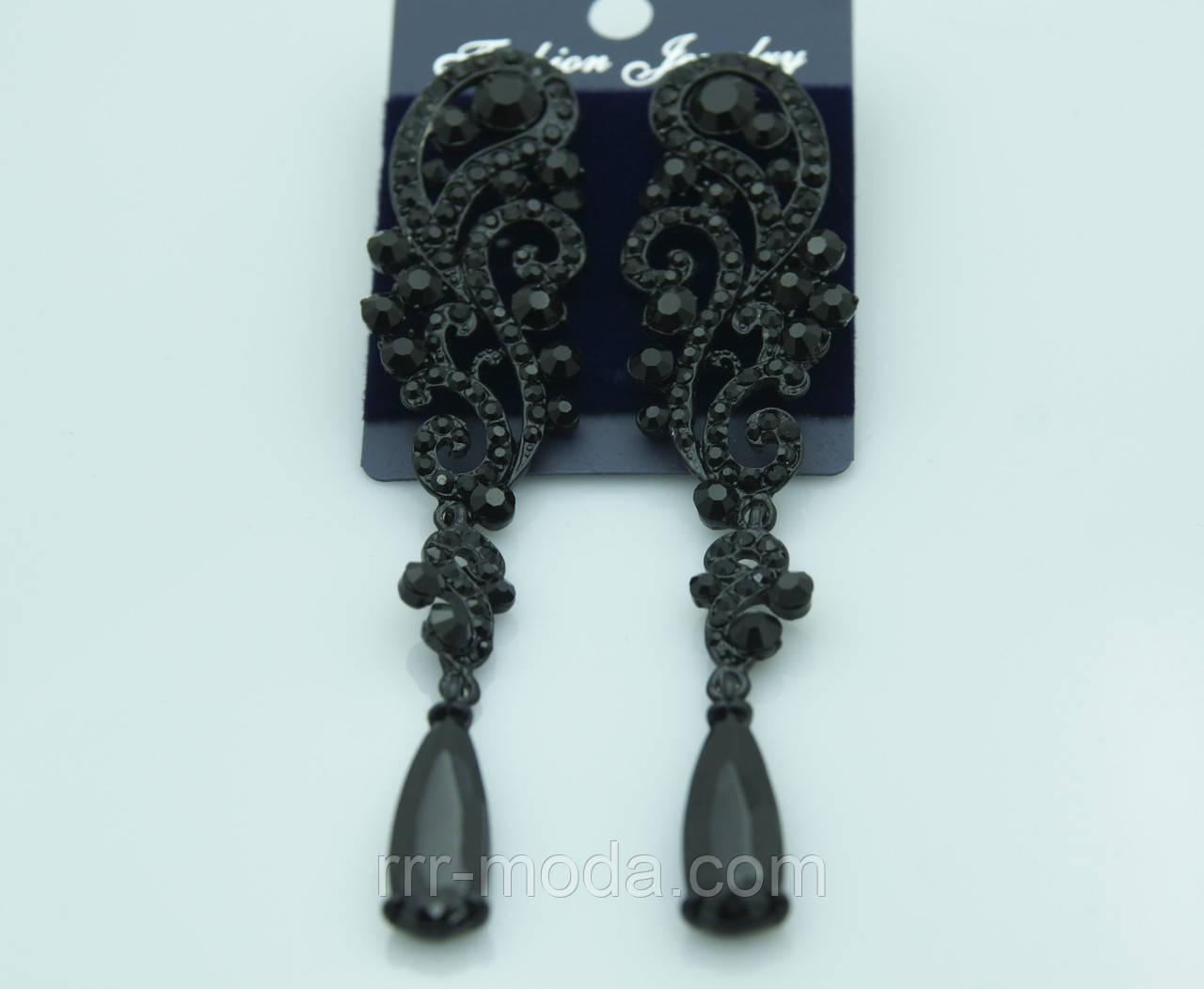 Чёрные вечерние серьги. Красивые украшения от Бижутерии оптом RRR. 422