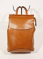 Кожаный рюкзак городской, сумка Valensiy 83003 рыжий, 32*22*16 см