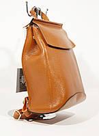 Кожаный городской рюкзак-сумка Valensiy 83003 рыжий, трансформер