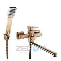 Смеситель для ванны в цвете бронза под старину длинный гусак, Z65-LEB7-T ZEGOR (TROYA)