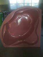 Ванна акриловая угловая КМТ Релакс 140 X 140 с ножками и панелью Розовая