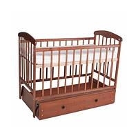 Детская кроватка Наталка, светлая, маятник с ящиком