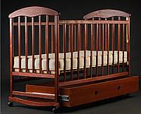 Детская кроватка-качалка с ящиком темная, лак