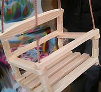 Качели детские деревянные подвесные.