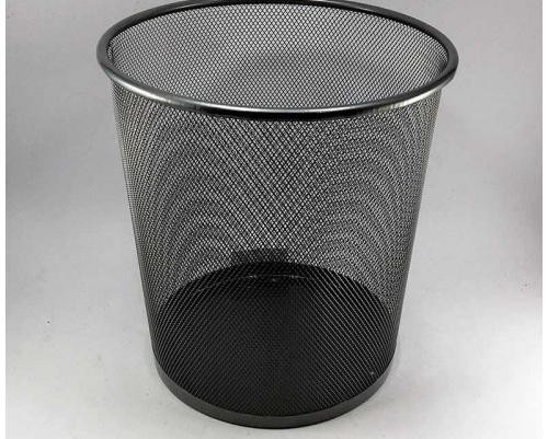 Корзина для бумаг металлическая круглая серебро 26х28см (средняя)