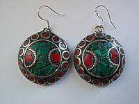 Серьги массивные -Малахит,красный коралл,серия Тибет.Мозаика, 28х8  мм, 925 проба, Индия-Эксклюзив