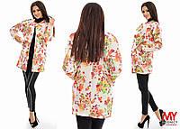 Пиджак неопреновый без застежки с цветочным принтом .03343 Батал! (НАТ)