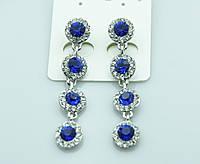 Нежные вечерние серьги с синими камнями. Качественные украшения оптом недорого. 458