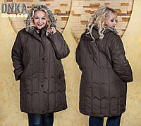 Пальто стеганое с натуральным мехом на капюшоне д9126 Батал! (ГЛ)