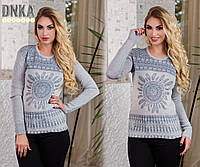 Женский тонкий свитер с рисунком №3829 \ серый