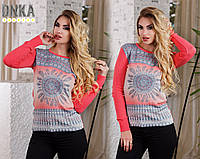 Женский тонкий свитер с рисунком №3829 \ коралл