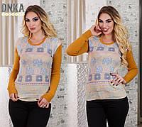 Женский тонкий свитер с рисунком №3828 \ горчица