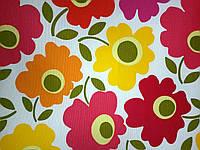 Ткань декоративная с тефлоновой пропиткой с разноцветными цветами, фото 1