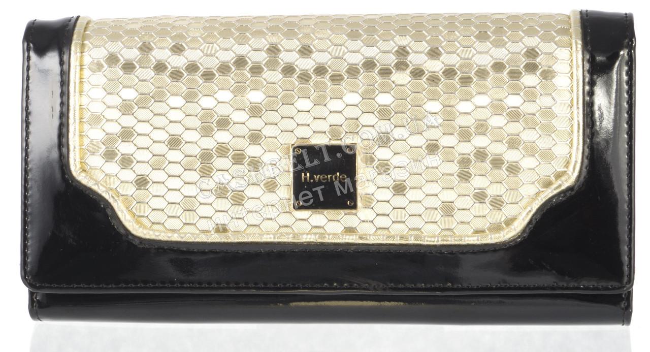 Гламурный женский кошелек с лаковой кожи высокого качества H.VERDE art. 2030-D74-D75 черный/золото