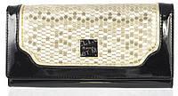 Гламурный женский кошелек с лаковой кожи высокого качества H.VERDE art. 2030-D74-D75 черный/золото, фото 1