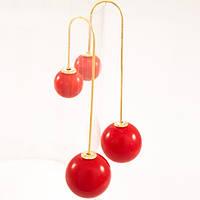 Серьги шарики MISE EN DIOR длинные красный