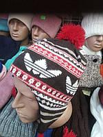 Вязанные детские шапки-ушанки.зима