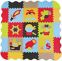 Детский игровой коврик - пазл «Приключения пиратов» с бортиком